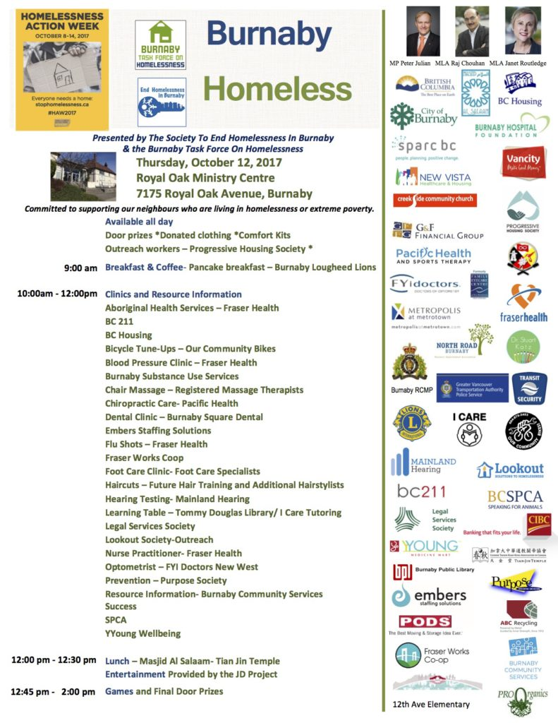 2017 Burnaby Homeless Connect in word September 26 for distributing