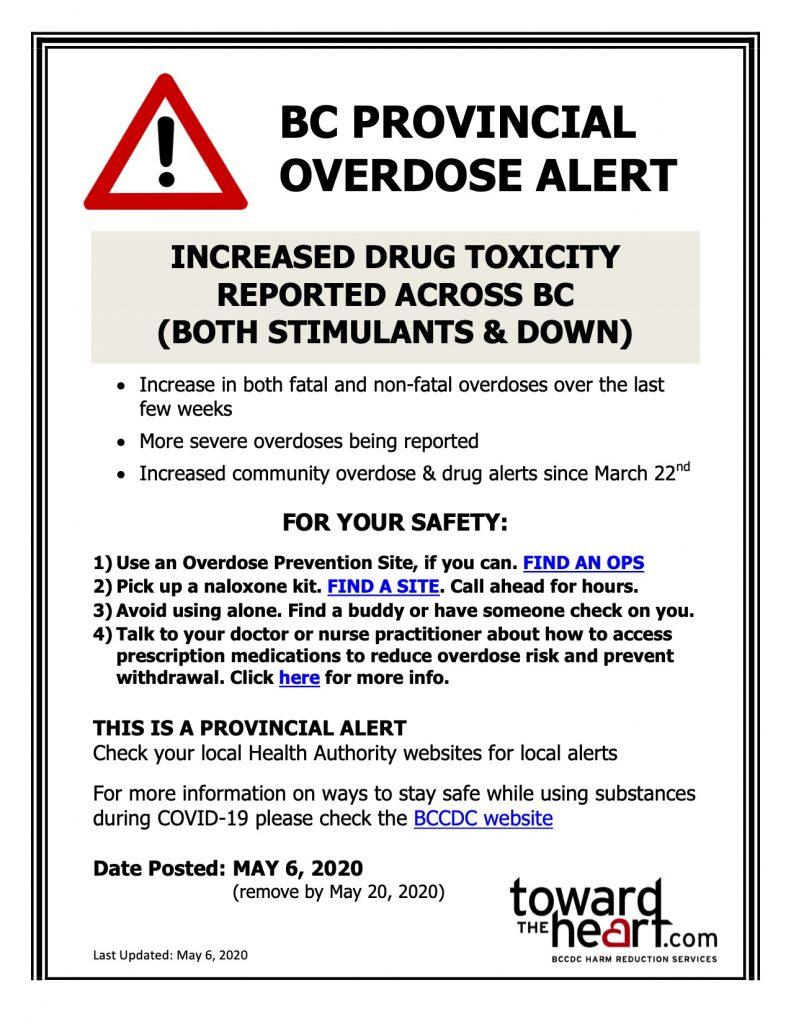 Provincial overdose alert overdose prevention poster